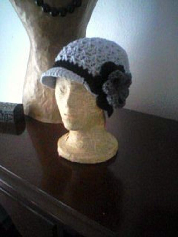 Light Grey And Black Newsboy Cadet Style Hat