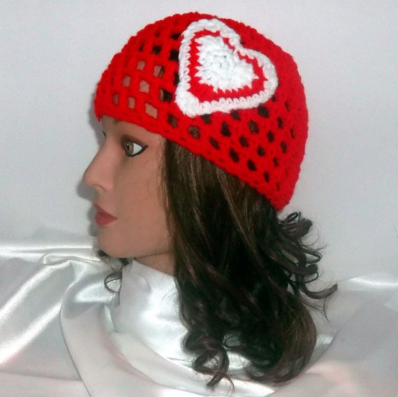 Crocheted Beanie Hot Red Valentines Heart
