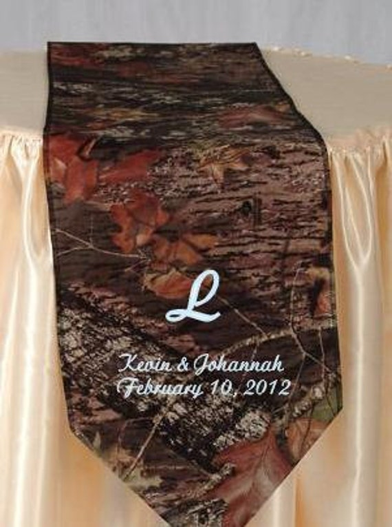 Mossy Oak Breakup table runner PERSONALIZED with names and wedding date