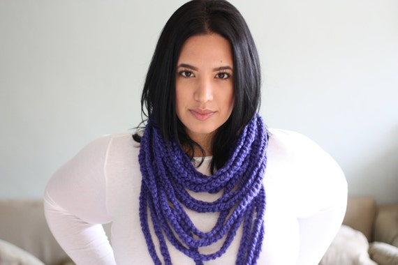 "chain warmer necklace infinity loop ""mister T"" scarf crocheted - cobalt blue"