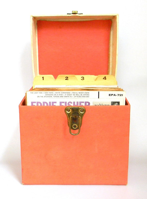 HUGE 45 record collection - vintage record box plus 53 records - DISCOUNTED
