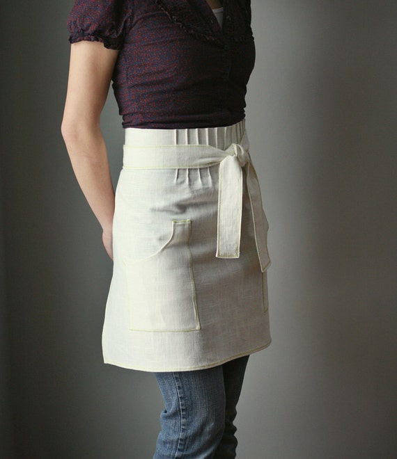 Half Apron, Linen with lime green, pink or aqua blue stitching. Simple, modern. Spring