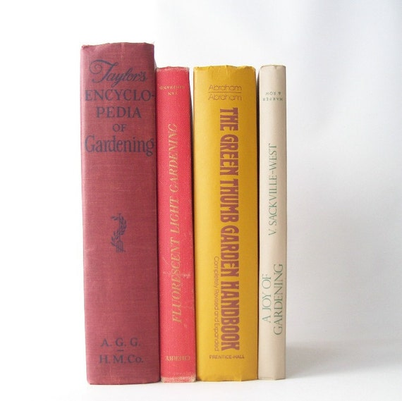 vintage gardening book collection red, orange, yellow, driftwood book bundle prop display home decor horticulture botany reference