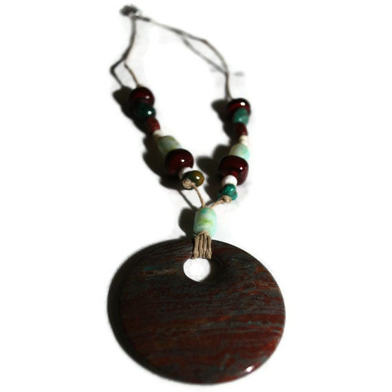 Turquoise and Burgundy  Jasper Stone Pendant Necklace- OOAK ETSY TREASURY