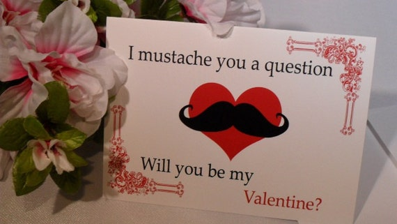 Valentine Card - Mustache a Question Valentine's Card - Anniversary Card