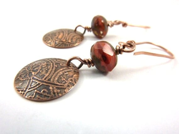Red Etched Copper Earrings Czech Glass Picasso Faceted Beads Domed Metal Discs Architectural Design