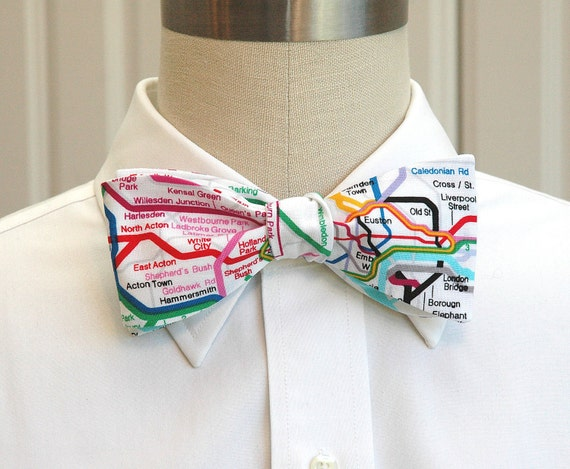 Men's bow tie London Underground map