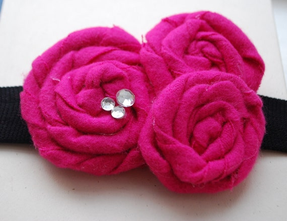 Rosette Fabric Trio Headband Shown in Bright Pink with Rhinestones and Red with White Sparkles