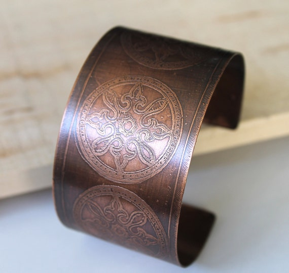 etched copper cuff by Kathy Johnson TheBronzeFlower.etsy.com