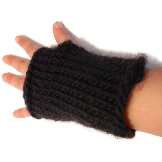 Childrens Fingerless Gloves Mittens Navy Blue 2 to 6 years