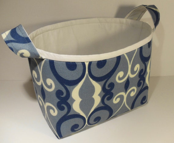 Fabric Storage Basket-Blue and Ivory Scrolls with Ivory Trim and Interior