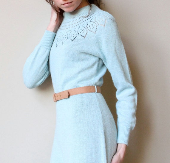 70s Sweater Dress - vintage pale pastel ice blue knit, Nordic snow bunny lodge style, midi length & portrait neckline