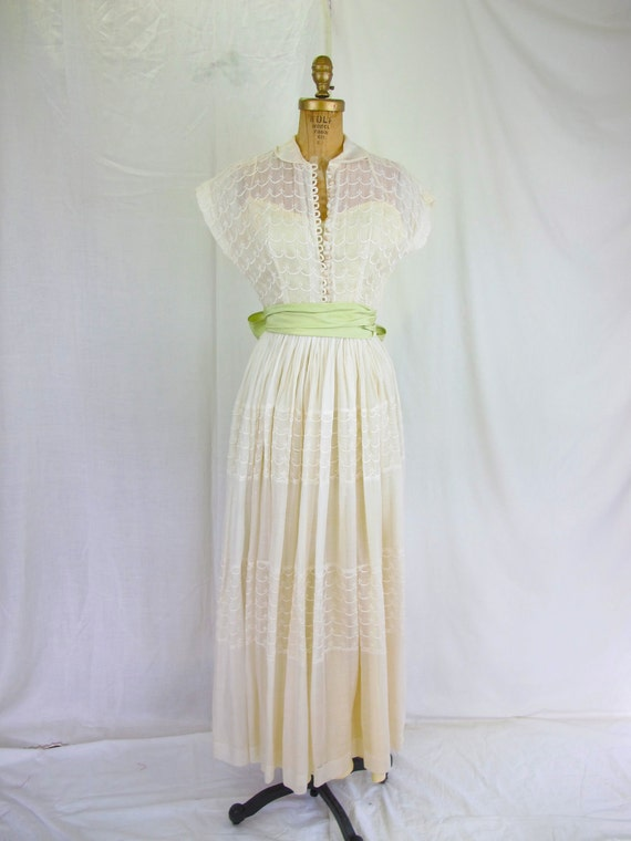 1940s White and Pale Lime Cotton Full Length Dress, Wedding Dress, Embroidered
