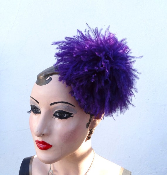 Weddings, Hair Accessory, Feather Fascinator, Large Purple Puff, Ostrich Feather, Head Piece, Hair Clip - Batcakes Couture