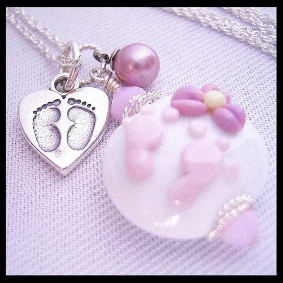 Baby Girl Footprint Lampwork Pendant Necklace, Footprint Necklace, New Mom Mum Necklace, Baby Shower Gift - ($68)