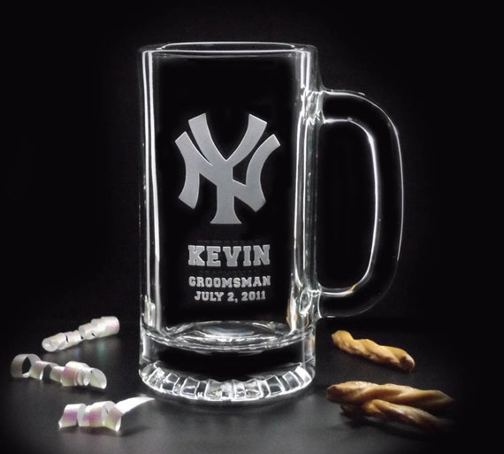 4 Groomsman Gifts - Set of 4 BASEBALL BEER MUGS - 16oz - Baseball Cups, Baseball Mugs, Baseball Glasses, Etched Sports Mugs distinctglass