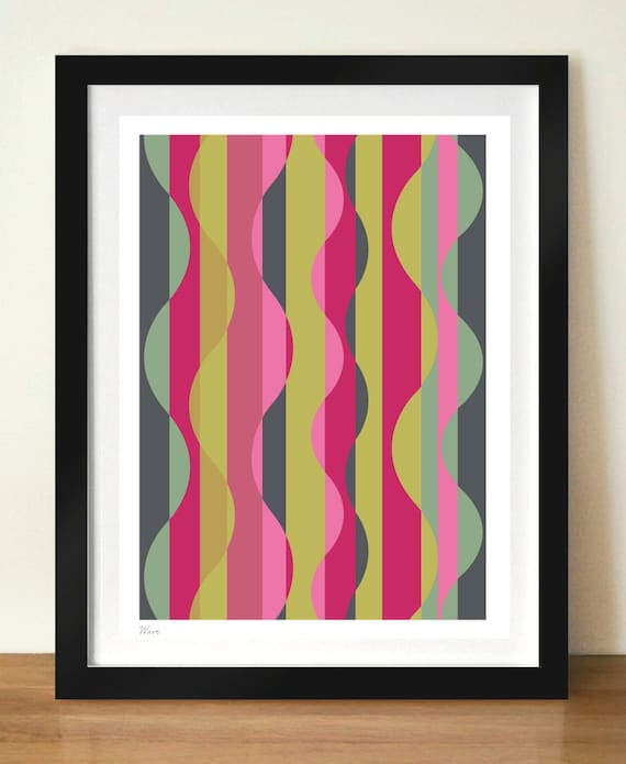 Mid-century retro poster print, WAVE, 11 x 17 (A3) artists giclée print, retro style