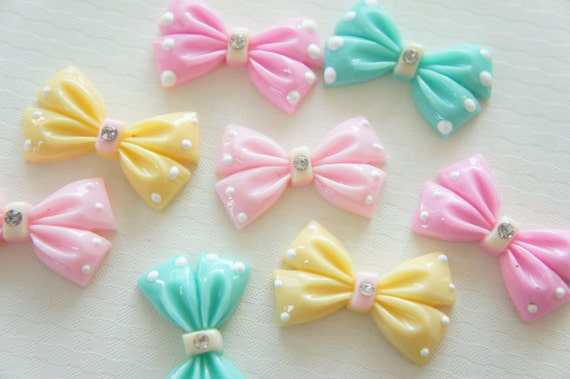 8 pcs Pastel Bow Cabochon (22mm37mm) BW150