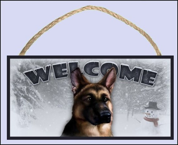 "German Shepherd Winter Season 10"" x 5"" Wooden Welcome Sign"