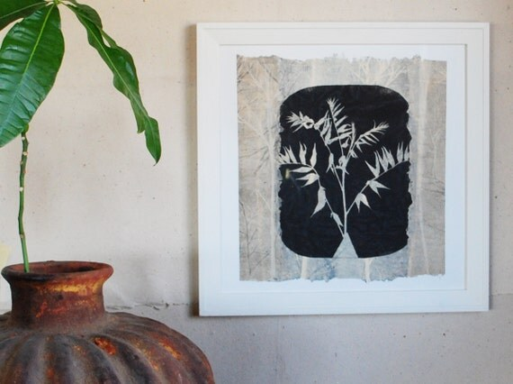 Sumac Silhouette, unique monoprint