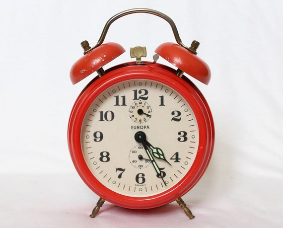 Vintage Retro Orange Alarm Clock - Europa - Made In Germany