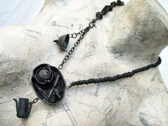 Coal Dust Kitchen. Black Miniatures Assemblage Rustic Vintage Cooking Necklace.