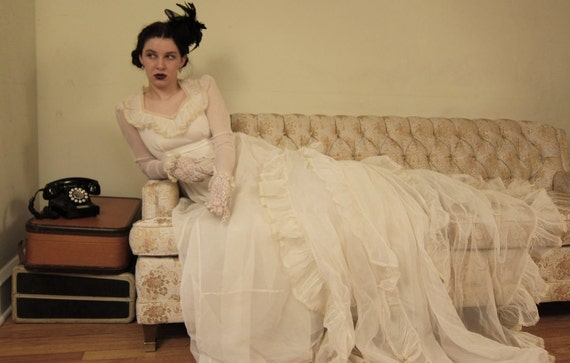 RESERVED FOR FOTHERGILL Vintage 1940s Wedding Dress, Ivory Chiffon, Sheer Sleeves, Ruffled Collar, Long Ruffled Bustle on Train