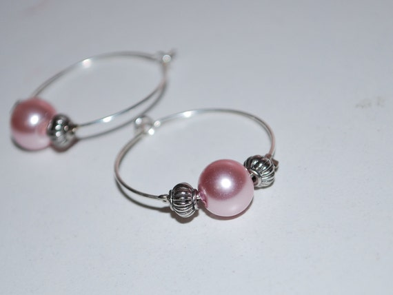 Silver & Pearl Hoop Earrings