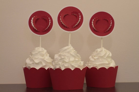 Red and White Scalloped Heart Valentines Day Cupcake Toppers