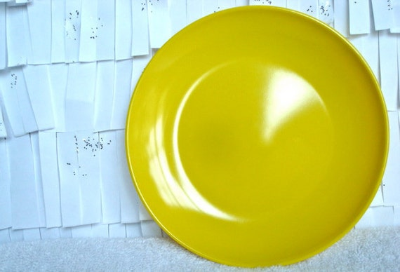 Bright Yellow Mid Century Texas Ware Plates