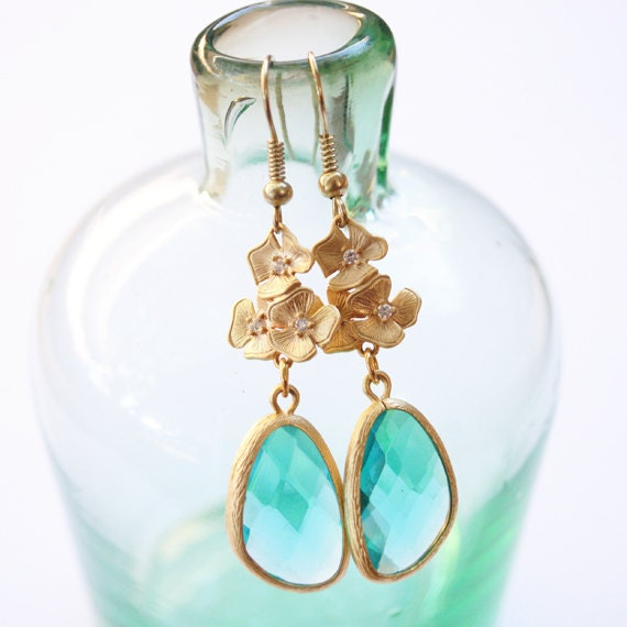 Teal Azalea Dangle Earrings Gold Posts Bridesmaid Earrings Bridal