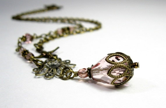 Misty Rose Blush, Vintage Style Necklace, Pendant, Victorian, Swarovski, Czech Glass