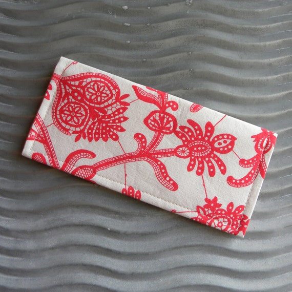 Coupon Organizer Holder Raspberry Red and Cream