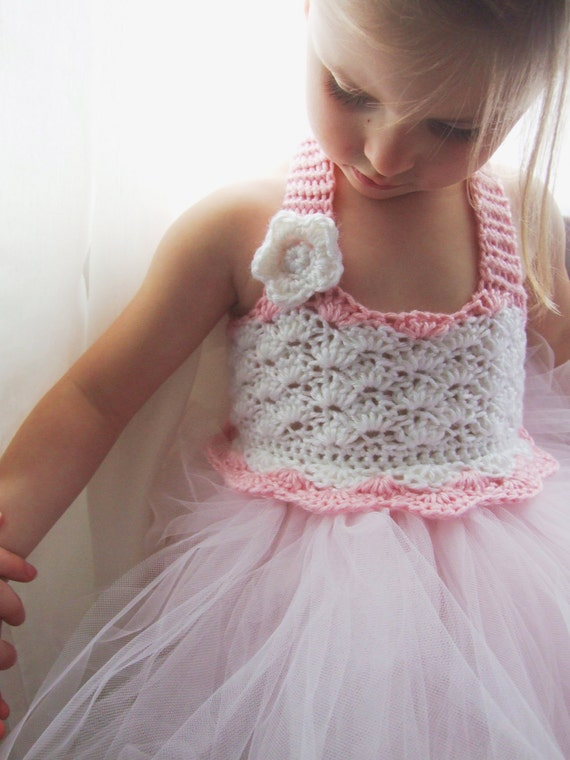 Flower Girl Tutu Dress Crochet Bodice Photography Prop Ballerina Baby Pink and White