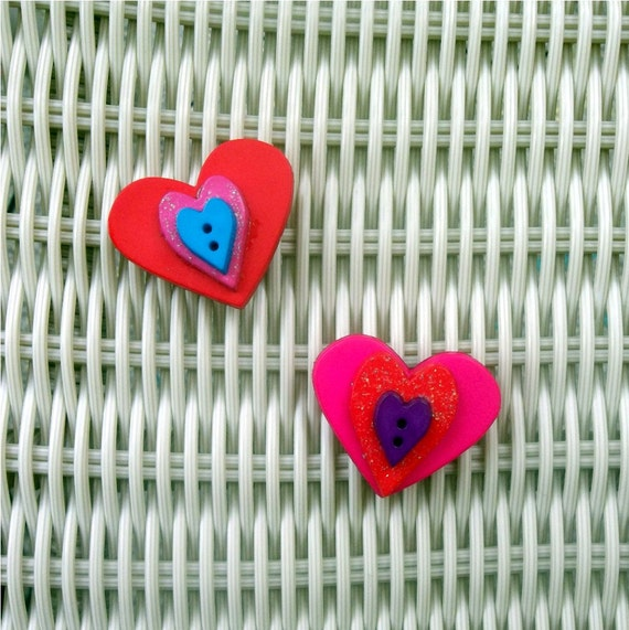 Heart Button Magnet Set Valentines Day