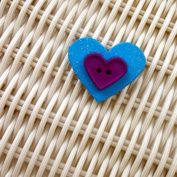Heart Button Brooch Pin Teal Purple Valentines Day
