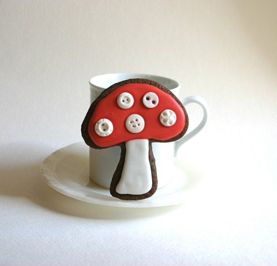 Toadstools, and Cookies, and Buttons -Oh my. 12 Toadstool Button Cookies ORGANIC