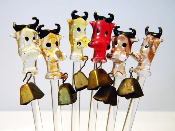 Glass Cow w Brass Bell Swizzle Stir Sticks 6pcs