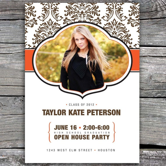 Mod with Damask Open House Graduation Invitation