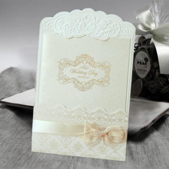 100 Pcs Elegant Lace Embossed Pocket with Ribbon Bow Wedding Invitation Card