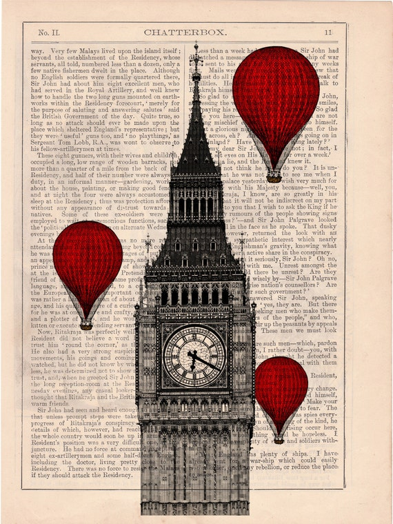 Vintage Book Print - London Big Ben Tower Balloon Ride Print on Vintage Book art