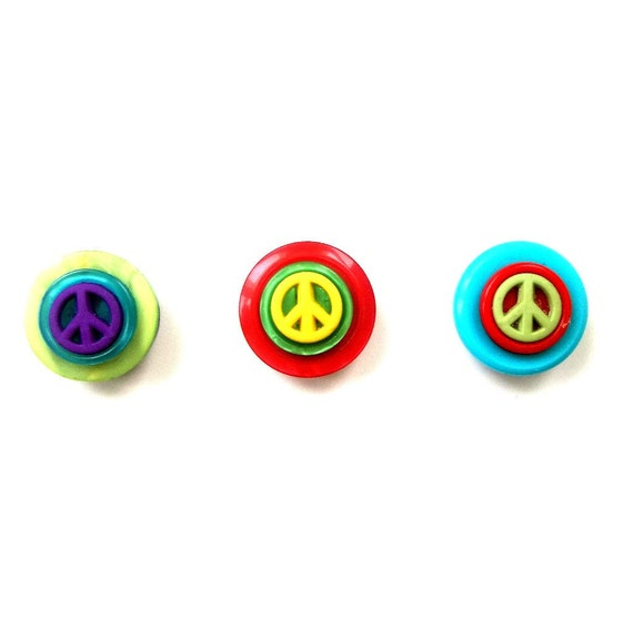 Peace Button Magnets, Set of 3