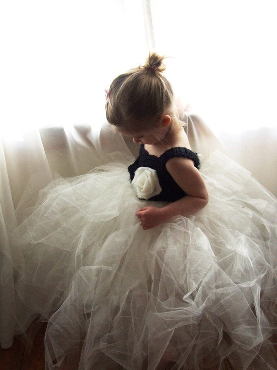 Flower Girl Tutu Dress Crochet Bodice Tulle Rose Photography Prop Shiny Ivory and Black