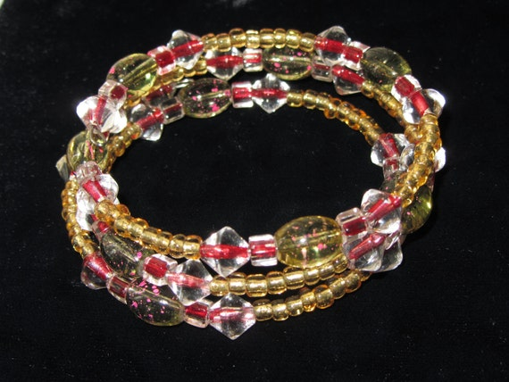 ON SALE NOW - Beautiful Wrap Around Memory Wire Bracelet with Red, Green, and Gold Beads