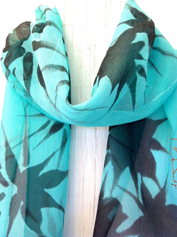 Hand Painted Silk Scarf Floral, Mint Green Black Hanabi Flowers Scarf. Silk Chiffon Scarf. Blue Silk Scarf. 7x50 in.