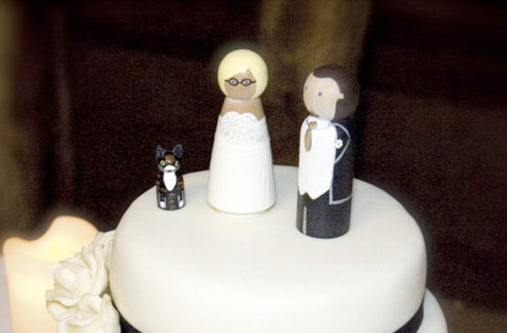 Custom Wedding Cake Toppers with Pet Large Wooden Wood Peg Dolls Bride Groom