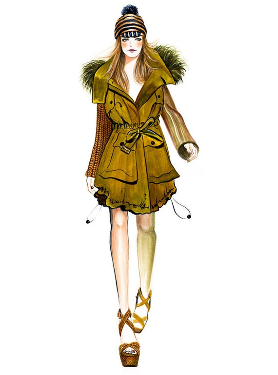 Runway Fashion Illustration - Burberry Prorsum