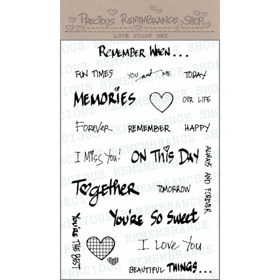 "Photopolymer Clear Stamps - Love Stamp Set - 4""x6"" Sheet - High Quality - 20 Stamps - Clear Stamps - Sentiments - Heart"