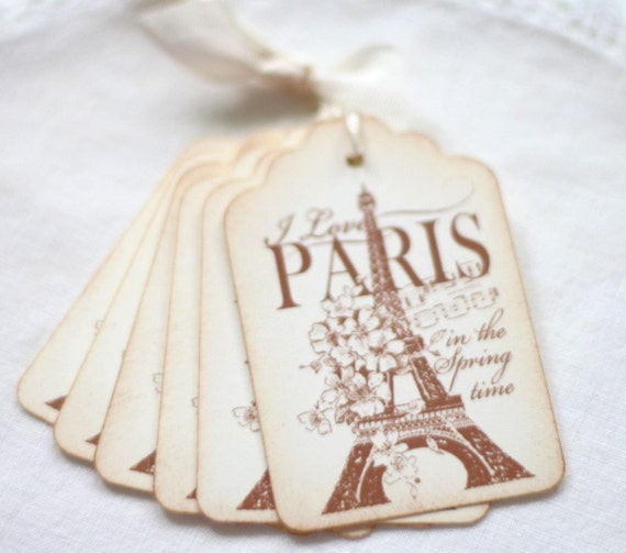 Paris Gift Tags French Inspired Paris in the Springtime