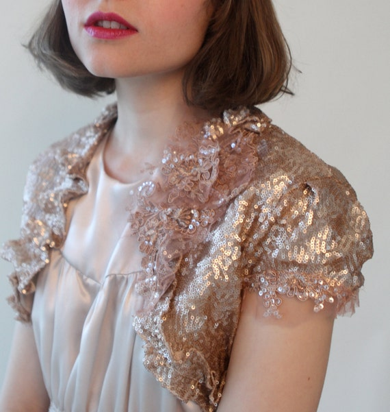 Rose Gold Sequin Bridal Shrug Bolero Made to Order